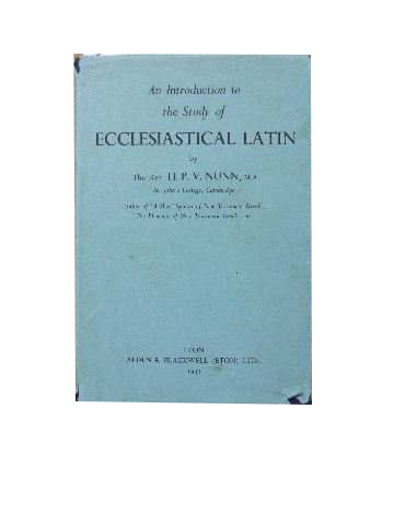 Image for An Introduction to Ecclesiastical Latin.