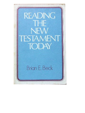 Image for Reading the New Testament Today  An Introduction to New Testament Study