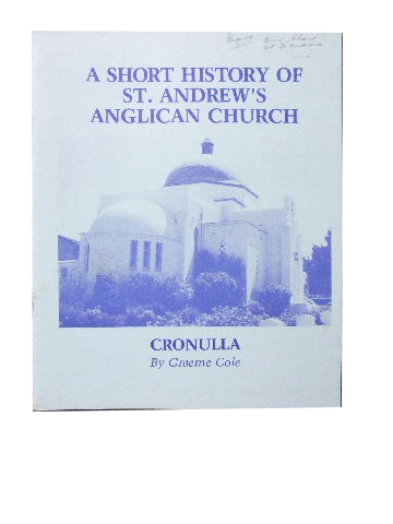 Image for A Short History of St. Andrew's Anglican Church, Cronulla.