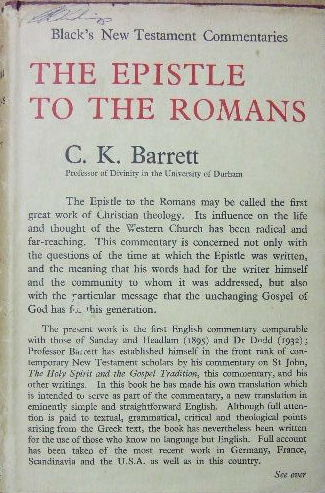 Image for A Commentary on the Epistle to the Romans  (Black's New Testament Commentaries. General Editor Henry Chadwick)