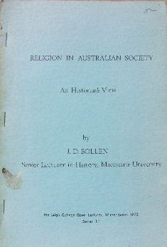 Image for Religion in Australian Society  An Historian's view