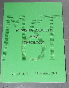 Image for Ministry, Society and Theology 13:2  November 1999.