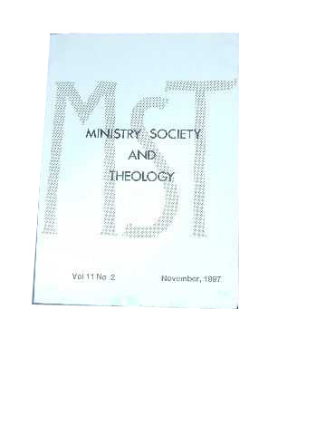 Image for Ministry, Society and Theology 11:2  November 1997.