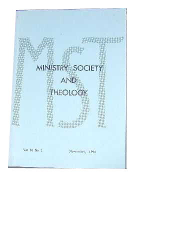 Image for Ministry, Society and Theology 10:2 November 1996.